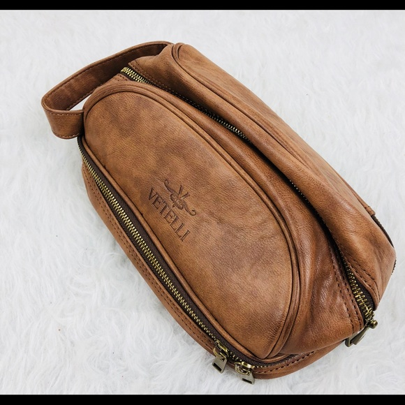 64a0f321ca Vetelli Mens Toiletry Travel Bag Leather DOPP Kit.  M 5b1add47194dad00c02ffe26
